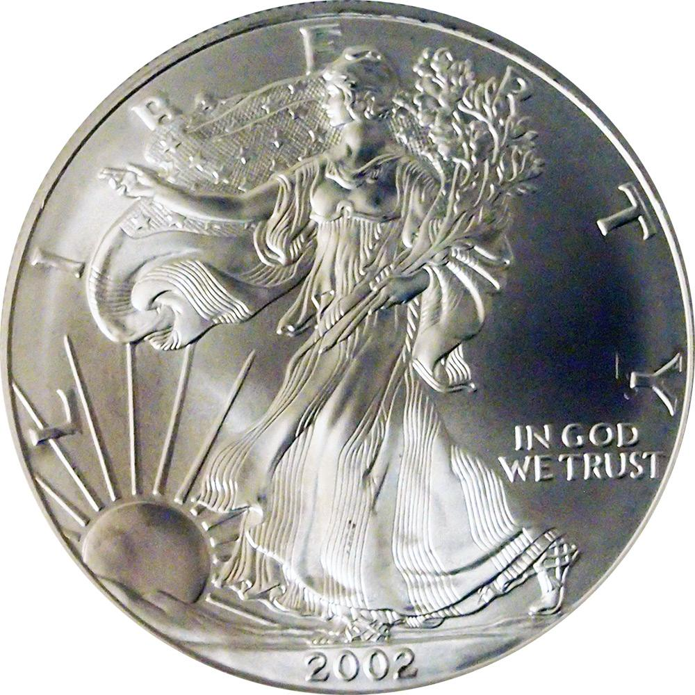 2002 American Silver Eagle Dollar BU 1oz Silver Uncirculated Coin