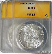 1881 Morgan Silver Dollars in ANACS MS 63