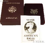 1990-S American Silver Eagle 1 oz Silver Proof Coin OGP Replacement Box and COA