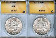 1879 Morgan Silver Dollars in ANACS MS 62