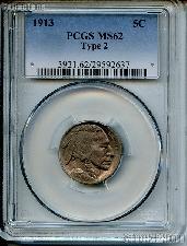1913 Type 2 Buffalo Nickel in PCGS MS 62