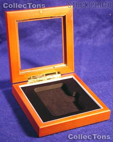 Glass Top Wooden Coin Box for 1 Slab Holder