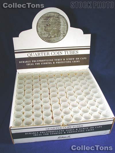 100 Harris Round Polypropylene Coin Tubes 40 QUARTERS