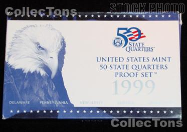 1999 U.S. Mint QUARTER Proof Set OGP Replacement Box and COA
