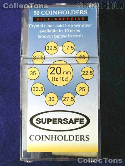 50 Supersafe 2x2 Self-Adhesive Cardboard Coin Holders CENT & DIME
