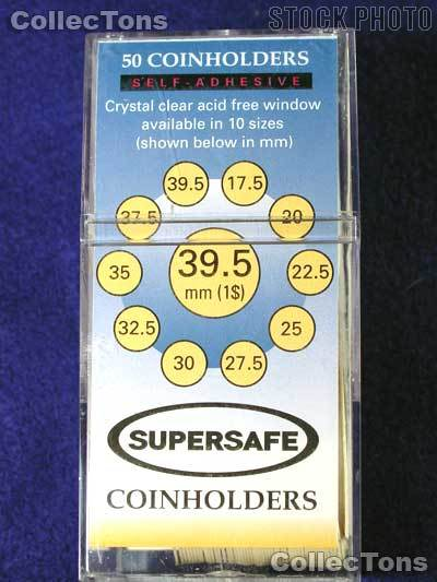 50 Supersafe 2x2 Self-Adhesive Cardboard Coin Holders LARGE DOLLARS