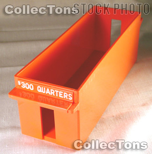 Color-Coded Plastic Coin Roll Tray for 30 QUARTER Rolls