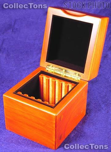 Vertical Row Wooden Coin Box for 5 Slab Holders