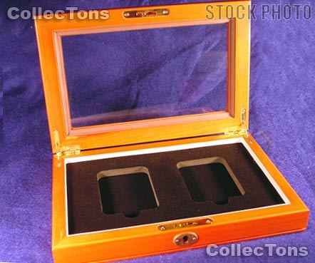 Glass Top Wooden Coin Box for 2 Slab Holders