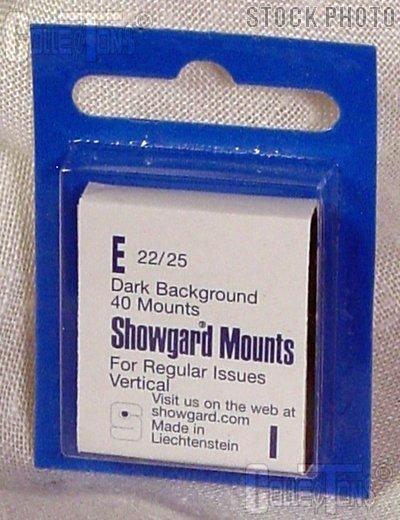 Showgard Pre-Cut Black Stamp Mounts Size E22/25