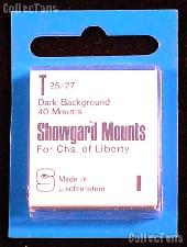 Showgard Pre-Cut Black Stamp Mounts Size T25/27