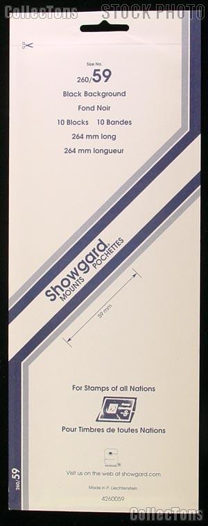 Showgard Pre-Cut Black Stamp Mounts Size 260/59