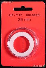 "Air-Tite Coin Capsule ""H"" White Ring Coin Holder  26mm Coins SMALL DOLLARS"