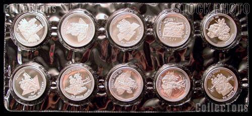 10 Johnson Matthey 1-Ounce .999 SILVER Freedom Rounds
