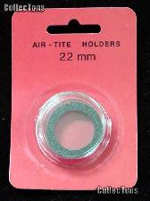 "Air-Tite Coin Capsule ""T"" Black Ring Coin Holder for 22mm Coins"