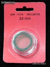 "Air-Tite Coin Capsule ""T"" Black Ring Coin Holder for 24mm Coins Quarters"