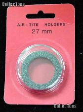 """Air-Tite Coin Capsule """"H"""" Black Ring Coin Holder for 27mm Coins"""