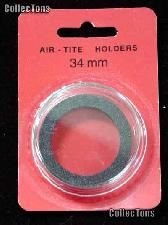 "Air-Tite Coin Capsule ""I"" Black Ring Coin Holder for 34mm Coins"
