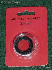 "Air-Tite Coin Capsule ""T"" Black Ring Coin Holder for 20mm Coins"