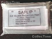 50 Double Pocket 2x2 SAFLIP Safety Coin Flips