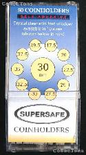 50 Supersafe 2x2 Self-Adhesive Cardboard Coin Holders 30mm