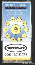 50 Supersafe 2x2 Self-Adhesive Cardboard Coin Holders 35mm