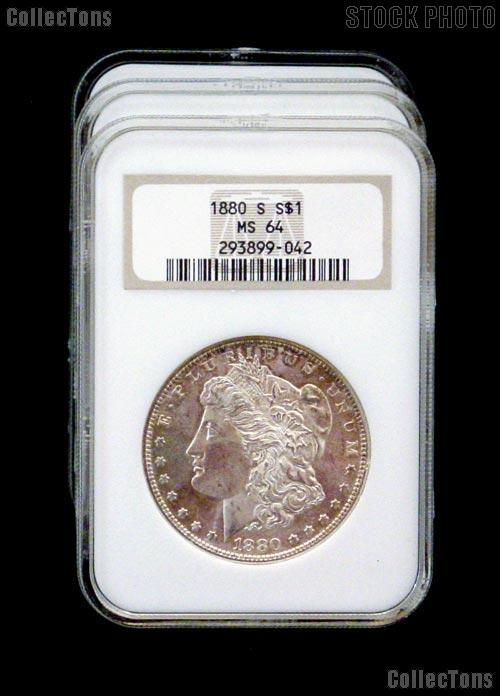 1880-S Morgan Silver Dollar in NGC MS 64