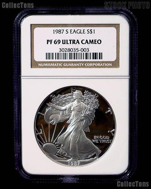 1987-S American Silver Eagle Dollar PROOF in NGC PF 69 ULTRA CAMEO