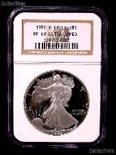 1991-S American Silver Eagle Dollar PROOF in NGC PF 69 ULTRA CAMEO