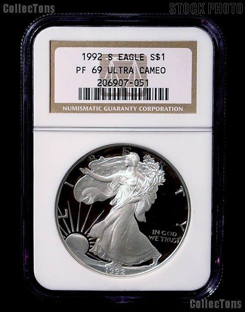 1992-S American Silver Eagle Dollar PROOF in NGC PF 69 ULTRA CAMEO
