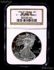 1996-P American Silver Eagle Dollar PROOF in NGC PF 69 ULTRA CAMEO