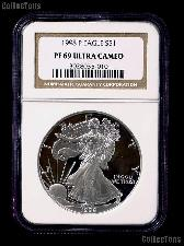 1998-P American Silver Eagle Dollar PROOF in NGC PF 69 ULTRA CAMEO