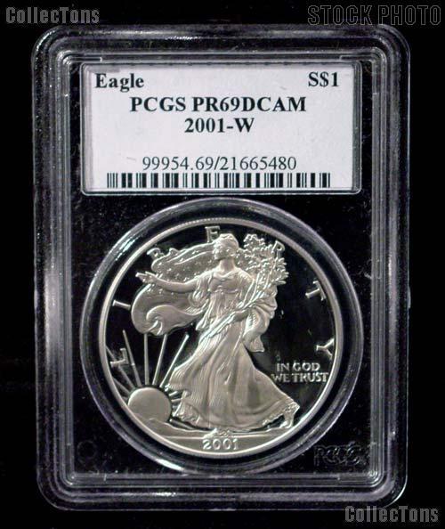 2001-W American Silver Eagle Dollar PROOF in PCGS PR 69 DCAM