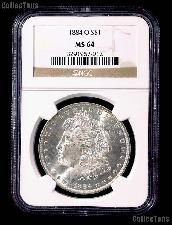 1884-O Morgan Silver Dollar in NGC MS 64