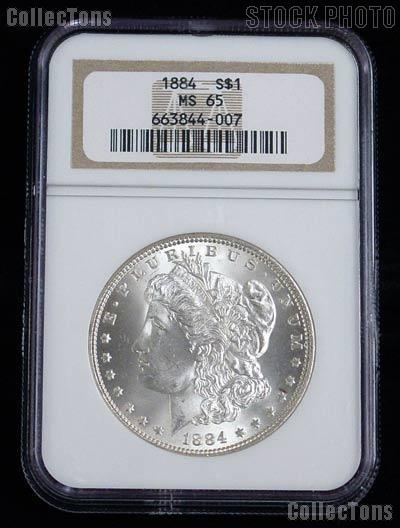 1884 Morgan Silver Dollar in NGC MS 65