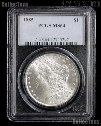 1885 Morgan Silver Dollar in PCGS MS 64