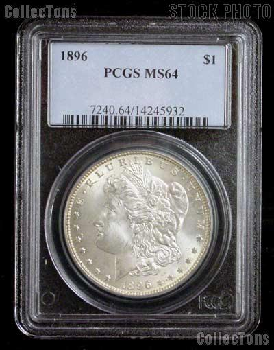 1896 Morgan Silver Dollar in PCGS MS 64
