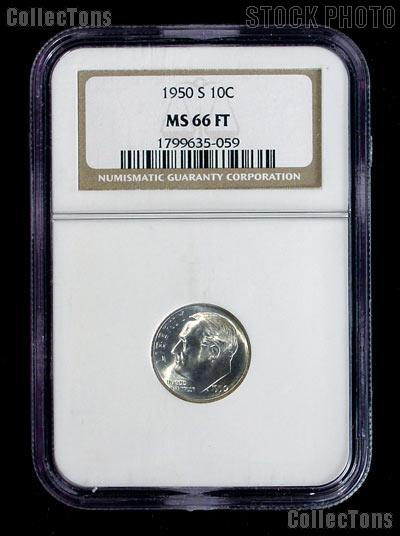 1950-S Roosevelt Dime in NGC MS 66 FT