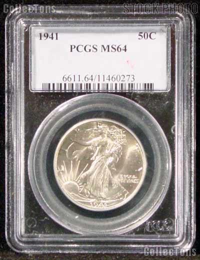 1941 Walking Liberty Half Dollar in PCGS MS 64