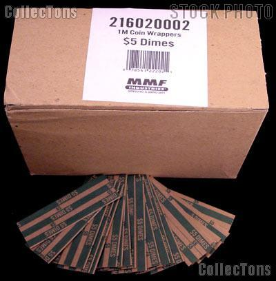 1000 Flat Kraft Paper Coin Wrappers for 50 DIMES