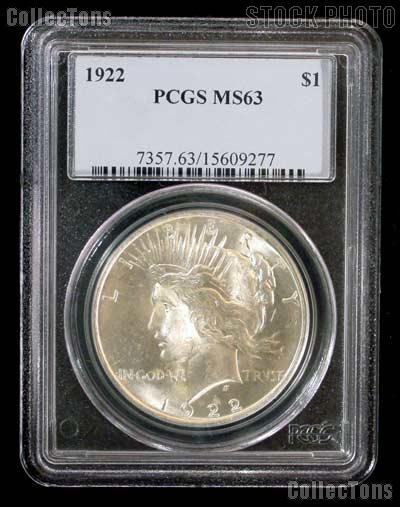 1922 Peace Silver Dollar - PCGS MS 63