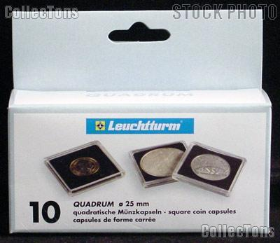 Coin Holder Quarter by Lighthouse (QUADRUM 25) 10 Pack of 25mm 2x2 Plastic Coin Holders for Quarters