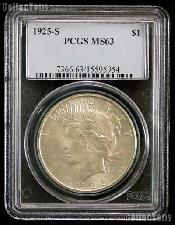 1925-S Peace Silver Dollar in PCGS MS 63