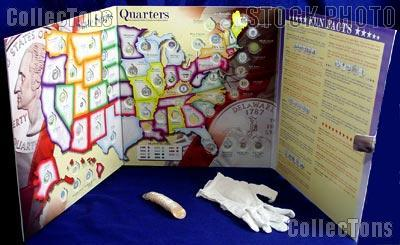 State Quarter Map Complete Set of State, DC & Territory Quarters 1999-2009 & Whitman State Quarter Map w/ Gloves
