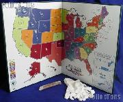 Quarter State Map Complete Set of State, DC & Territory Quarters 1999-2009 & Littleton Quarter State Map w/ Gloves