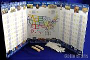 50 State Quarter Map Complete Set of P & D State Quarters 1999-2008 & US Mint 50 State Quarter Map w/ Gloves
