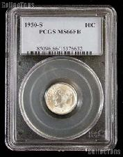 1950-S Key Date Roosevelt Silver Dime in PCGS MS 66 FB