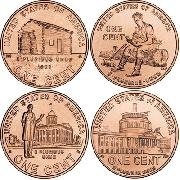 2009 Lincoln Bicentennial Penny Complete Set of BU Lincoln Cent Rolls Philadelphia (P) in All 4 Designs (4 Rolls)