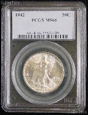 1942 Walking Liberty Half Dollar in PCGS MS 66
