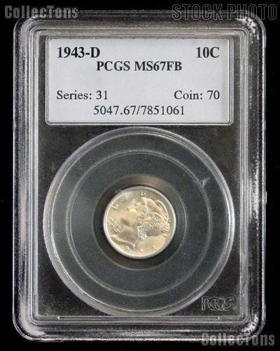 1943-D Mercury Dime in PCGS MS 67 FB (Full Bands)